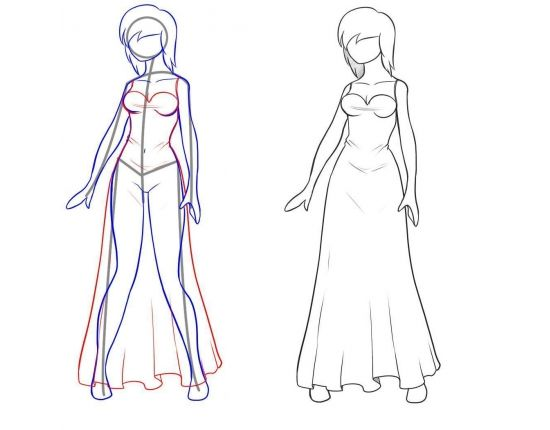 Рисунки девушек карандашом в полный рост в платьях (14)