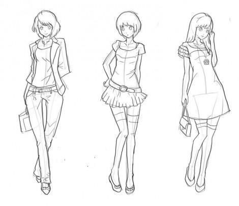 Рисунки девушек карандашом в полный рост в платьях (15)