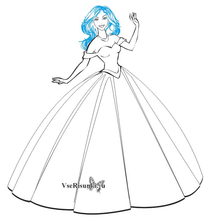 Рисунки девушек карандашом в полный рост в платьях (16)