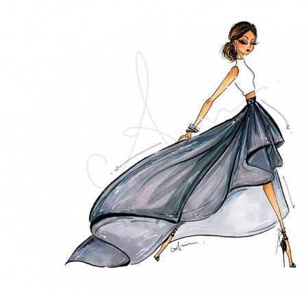 Рисунки девушек карандашом в полный рост в платьях (17)