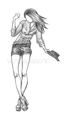 Рисунки девушек карандашом в полный рост в платьях (19)
