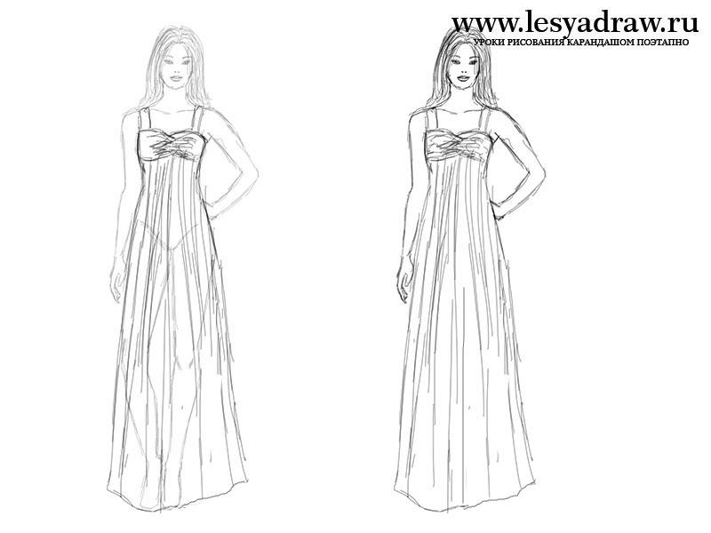 Женщина рисунок карандашом в полный рост в платье, для ирины приколы