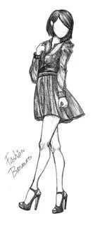 Рисунки девушек карандашом в полный рост в платьях (21)
