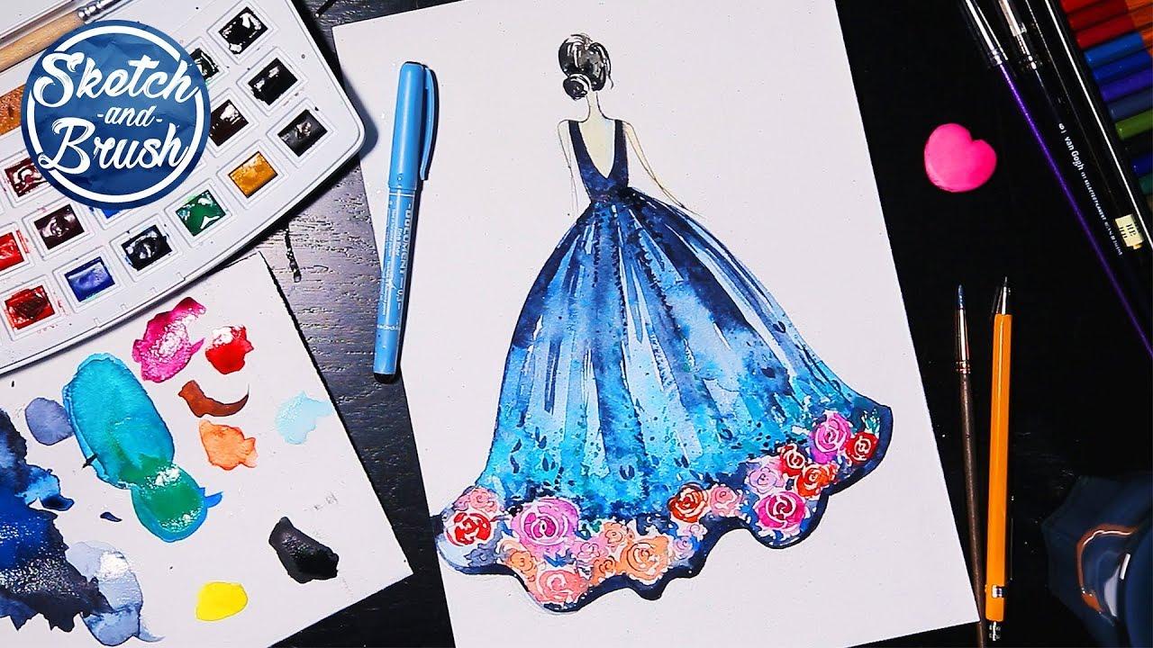 Рисунки девушек карандашом в полный рост в платьях (22)