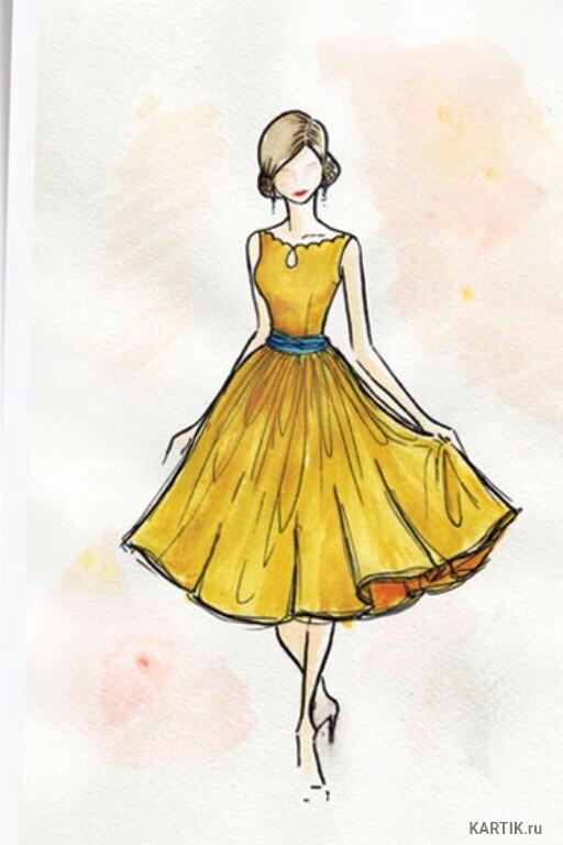Рисунки девушек карандашом в полный рост в платьях (23)