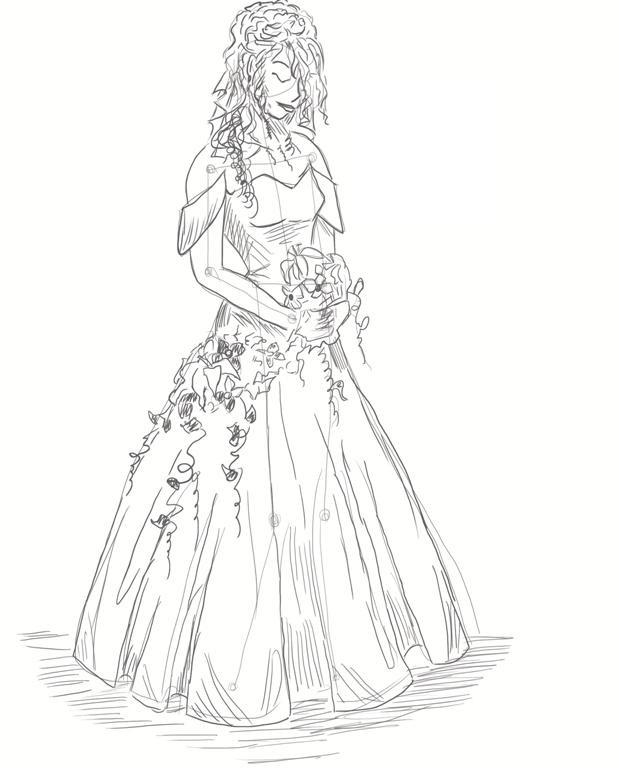 Рисунки девушек карандашом в полный рост в платьях (25)