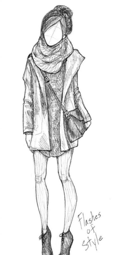 Рисунки девушек карандашом в полный рост в платьях