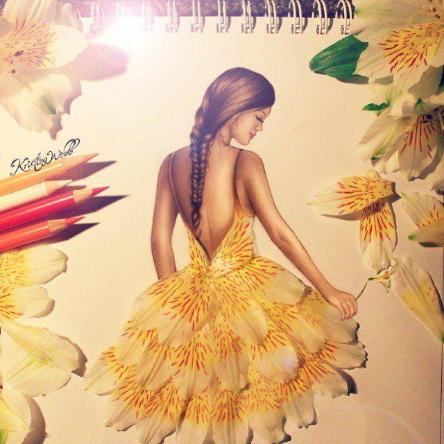 Рисунки девушек карандашом в полный рост в платьях (27)