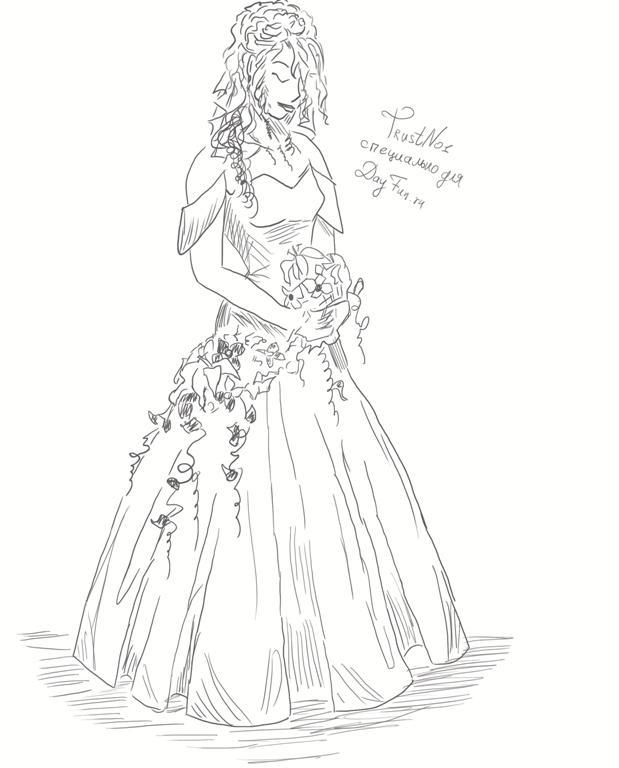 Рисунки девушек карандашом в полный рост в платьях (28)