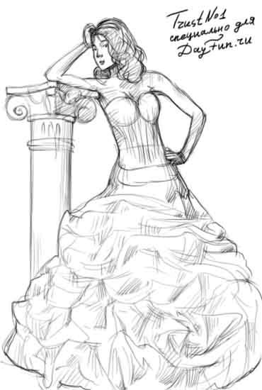 Рисунки девушек карандашом в полный рост в платьях (3)