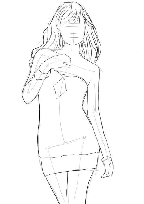 Рисунки девушек карандашом в полный рост в платьях (4)