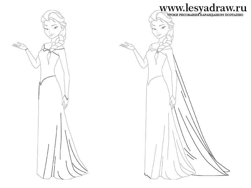 Рисунки девушек карандашом в полный рост в платьях (7)