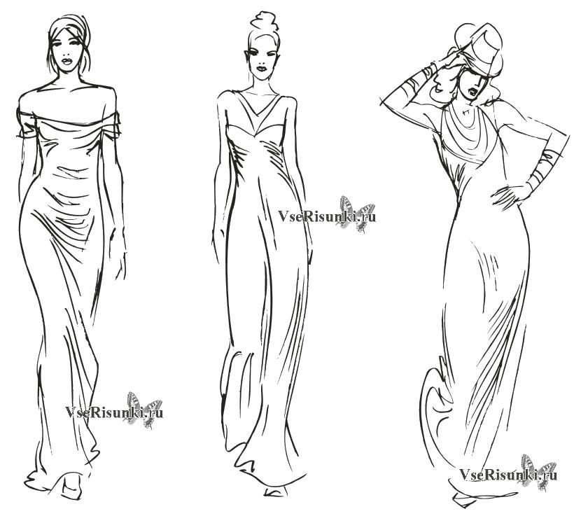 Рисунки девушек карандашом в полный рост в платьях (8)
