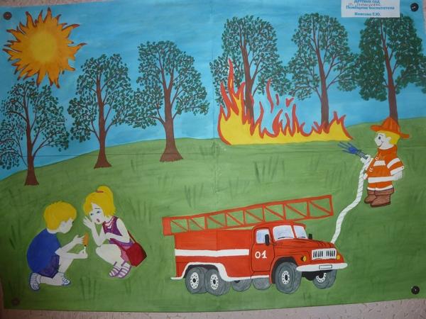 Рисунки по пожарной безопасности для детей своими руками (19)