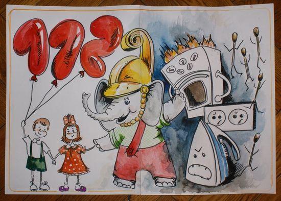 Рисунки по пожарной безопасности для детей своими руками (3)