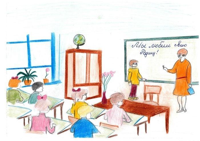 Рисунки про школу и на школьную тематику карандашом020