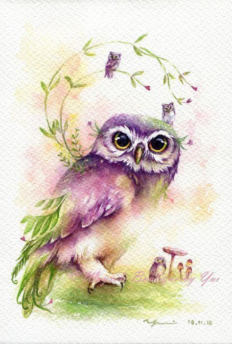 Рисунки совы красками смешные и веселые (15)