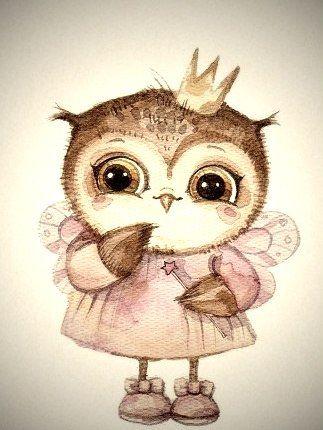 Рисунки совы красками смешные и веселые (2)