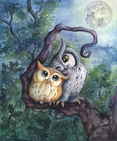 Рисунки совы красками смешные и веселые (20)