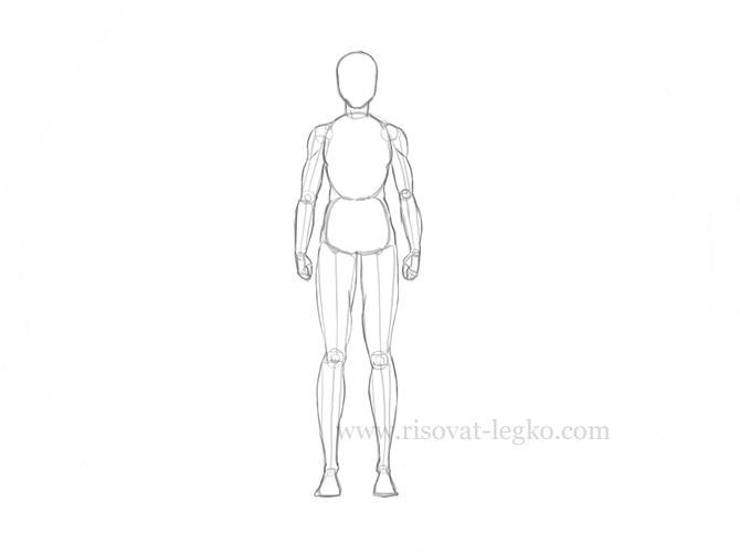 Рисунок по контуру человек в полный рост004
