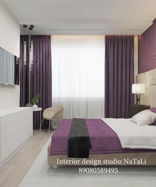 Спальня в сливовом цвете001
