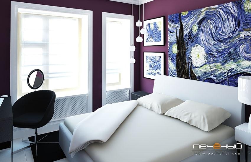Спальня в сливовом цвете008