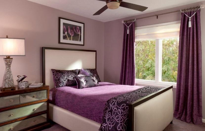 Спальня в сливовом цвете009