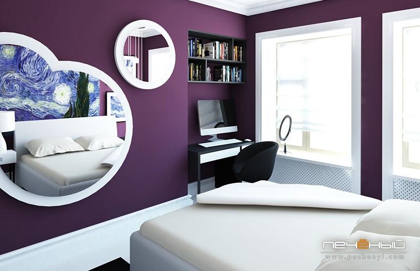 Спальня в сливовом цвете012