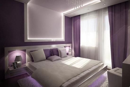 Спальня в сливовом цвете018