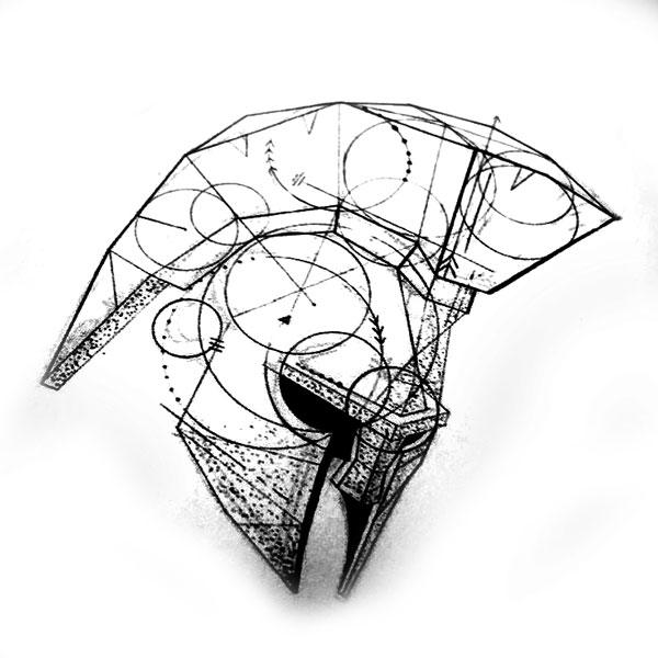 Спартанский шлем тату эскизы (10)