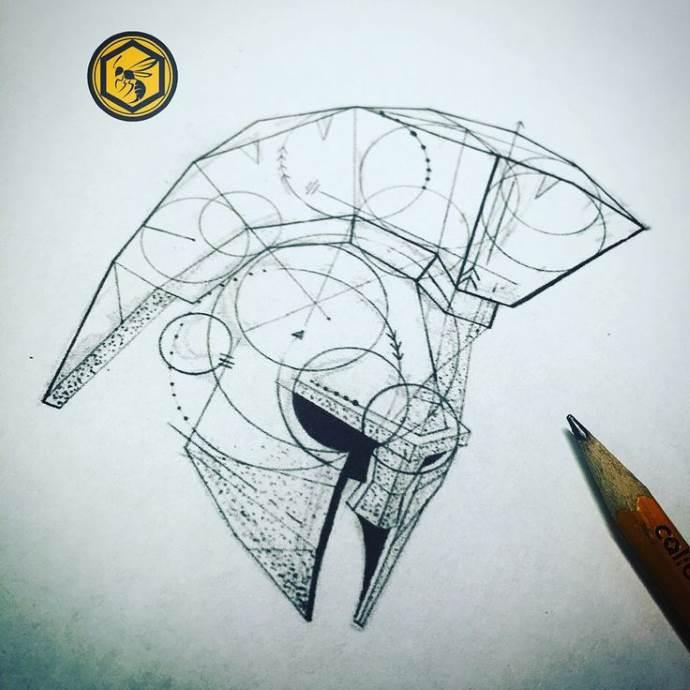 Спартанский шлем тату эскизы (14)