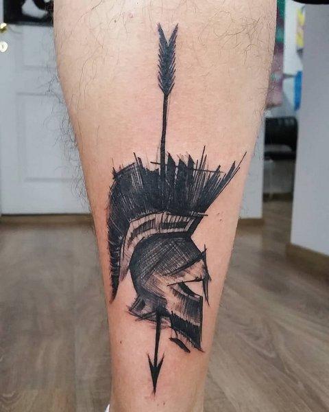 Спартанский шлем тату эскизы (17)