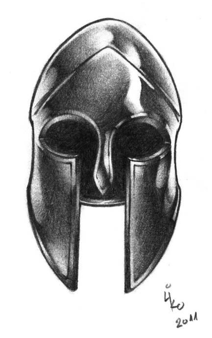 Спартанский шлем тату эскизы (20)