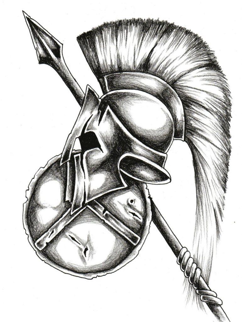 Спартанский шлем тату эскизы (31)