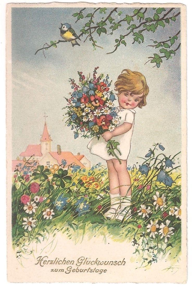 С днем рождения антикварные открытки007