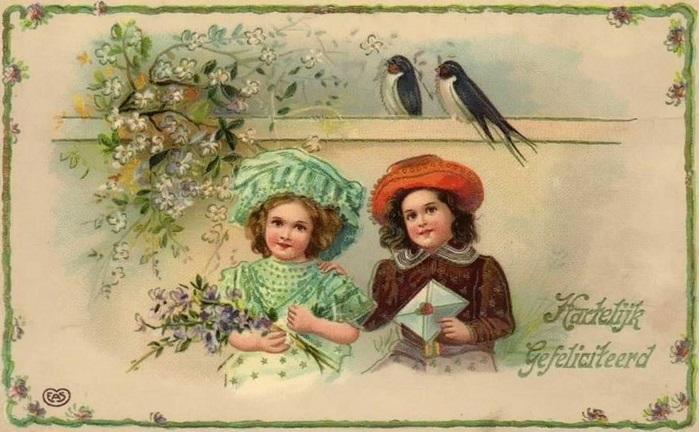 С днем рождения антикварные открытки010