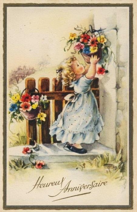 С днем рождения антикварные открытки016