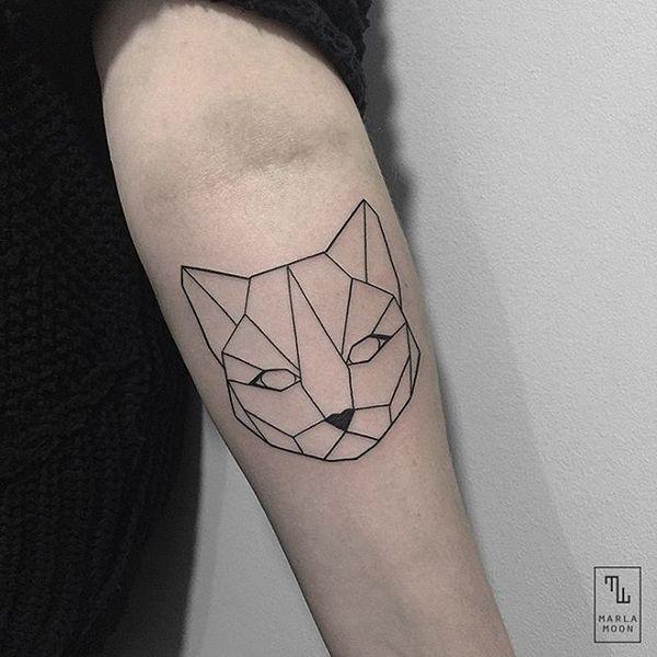 Тату эскиз кошка геометрия (12)