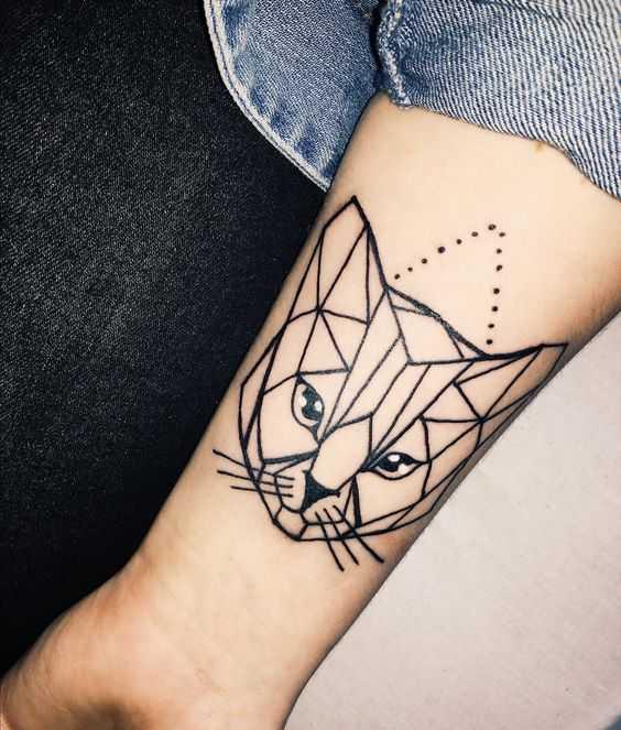 Тату эскиз кошка геометрия (13)