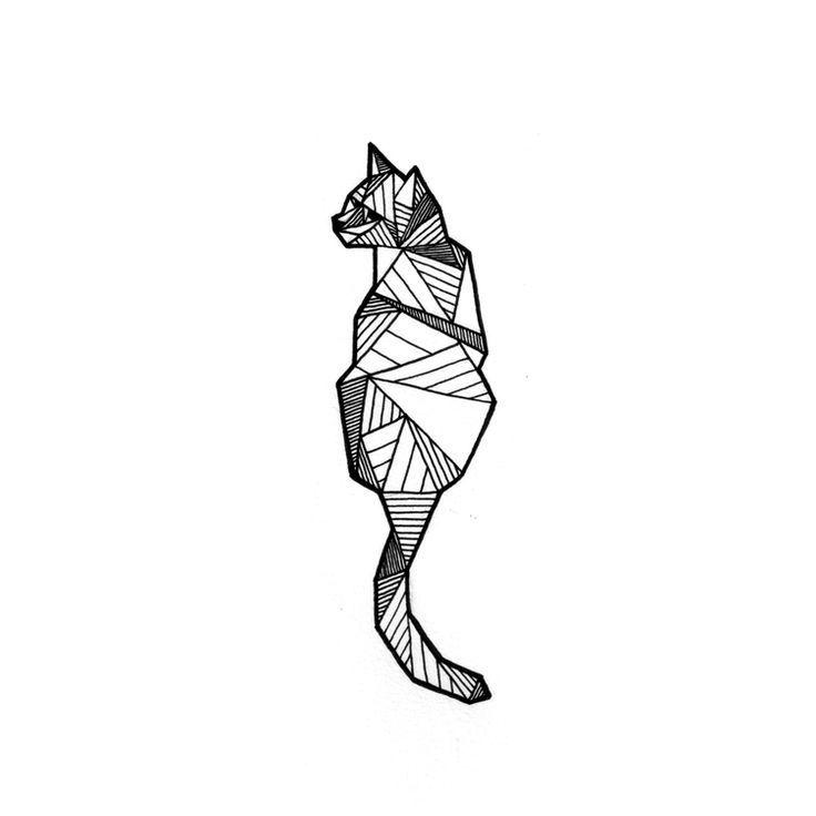 Тату эскиз кошка геометрия (19)