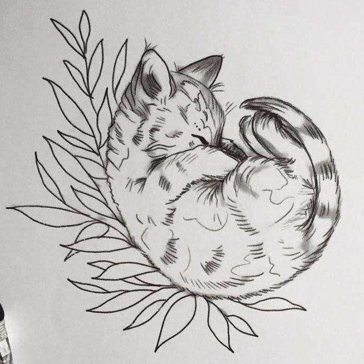 Тату эскиз кошка геометрия (2)