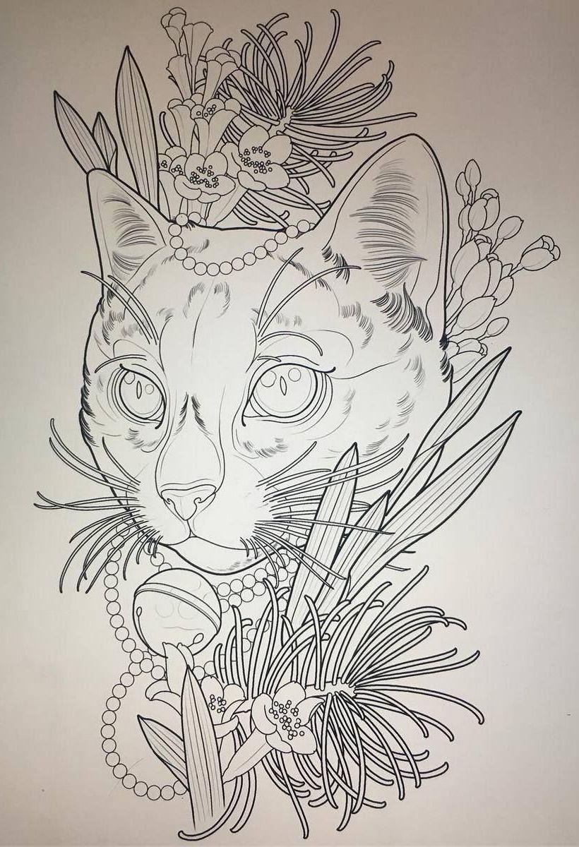 Тату эскиз кошка геометрия (23)