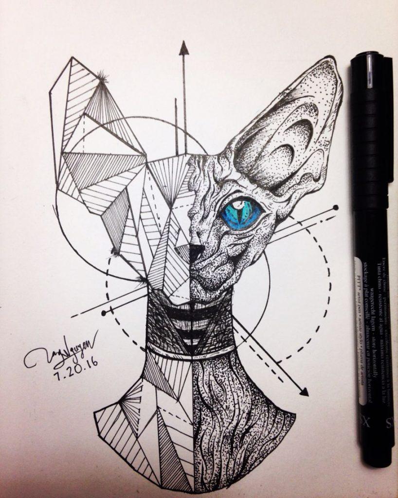 Тату эскиз кошка геометрия (25)