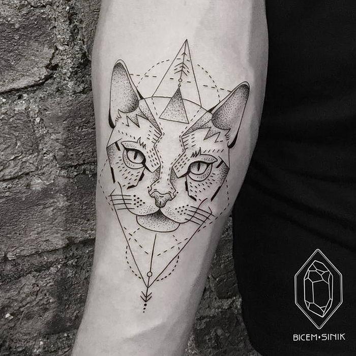 Тату эскиз кошка геометрия (28)
