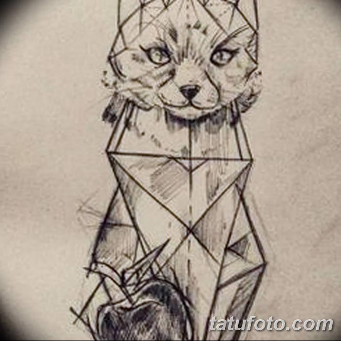 Тату эскиз кошка геометрия (4)