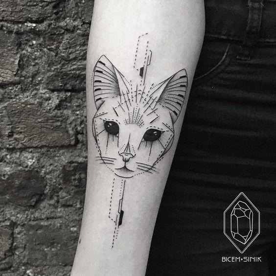 Тату эскиз кошка геометрия (5)