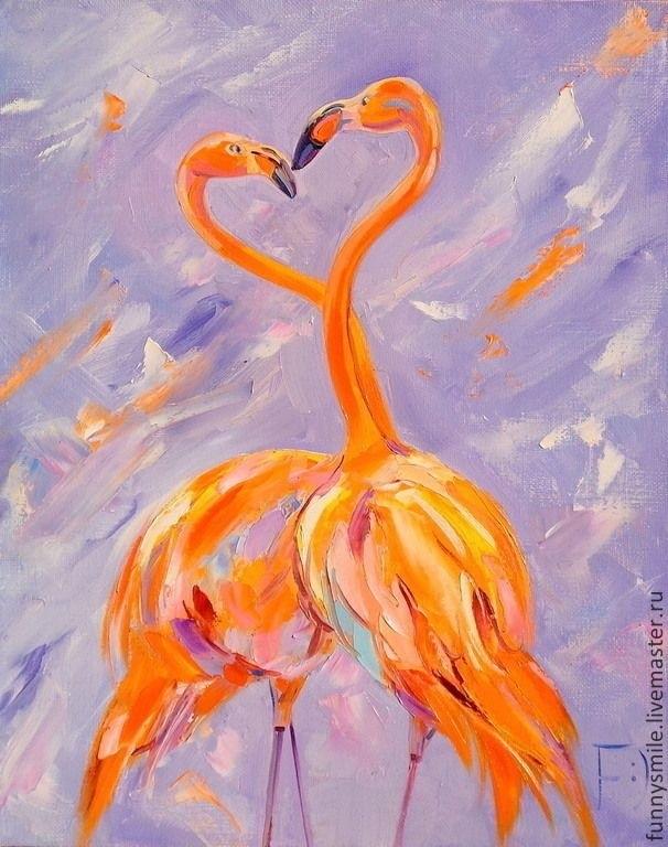 Удивительные картины фламинго маслом001