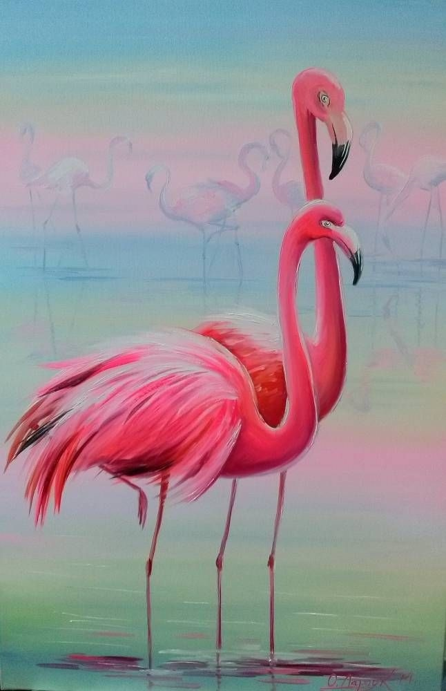 Удивительные картины фламинго маслом002