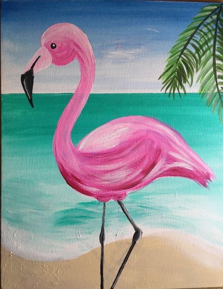 Удивительные картины фламинго маслом003