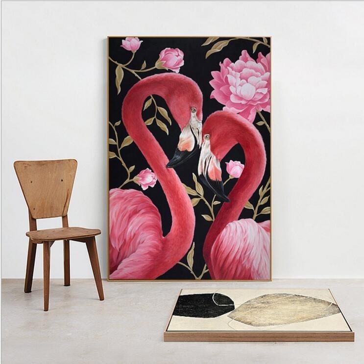 Удивительные картины фламинго маслом004
